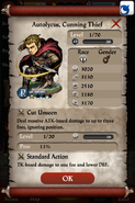 Autolycus, Cunning Thief Base Stats