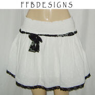White skirt with black lace by funkyfunnybone