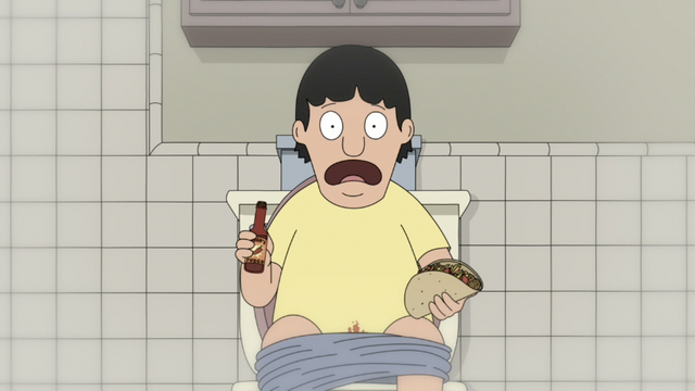 File:S3E02.05 Gene Getting Hot Sauce on His Crotch.png