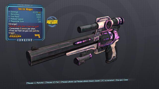 File:Consumes 2 ammo per shot, Two Fer Maggie 57 Orange None.jpg
