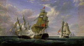Combat-between-the-french-frigate-la-canonniere-and-the-english-vessel-the-tremendous-pierre-julien-gilbert