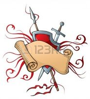 8682340-heraldic-composition-with-scroll-shield-and-weapons-vector-illustration