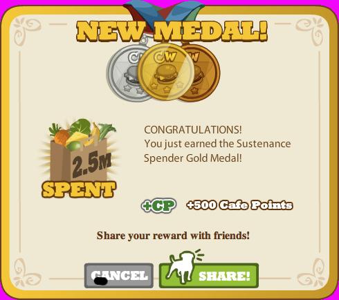 Sustenance Spender Gold Medal