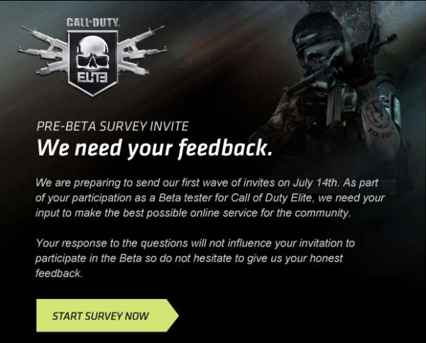 CoD ELITE pre-beta Survey
