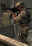 Delta soldier firing MP5 MW3