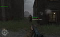 Alleyway leading to sandbags Approaching Hill 400 CoD2.png