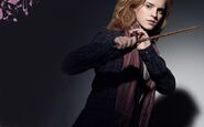 Hermione with her wand