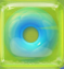 Cyan in Green Jelly cube