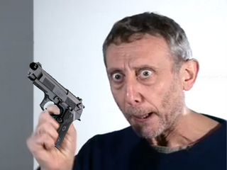 Michael Rosen with an Italian pistol