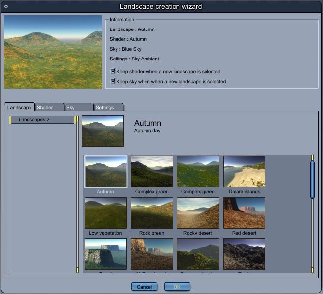 Landscape Creation Wizard window