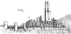 Metropolis skyline BW