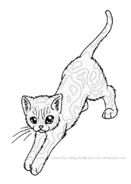 Stand stretch tortie lineart by wildpathofshadowclan-d2ywcai