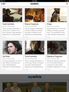 Mywikia bookmarks