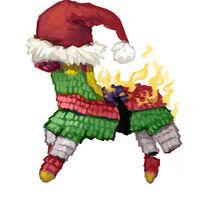 Holiday pinata fire