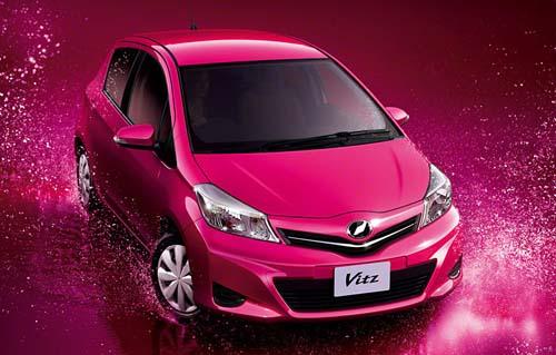 File:2012-toyota-yaris-new-mini-car-pink-color-paint.jpg