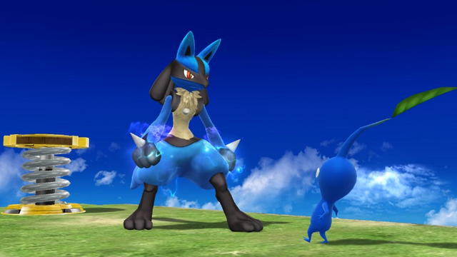 File:Lucario stares at a Pikmin.png