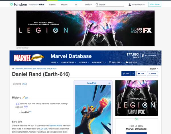 Marvel Database - New Header