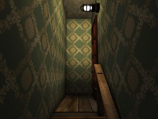 Basement - Stairs Wallpaper - Floral with Bows - Seafoam