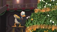 Donald decorating Scrooge's tree