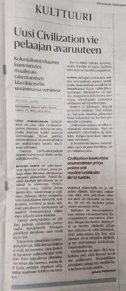Beyond Earth review in Helsingin Sanomat