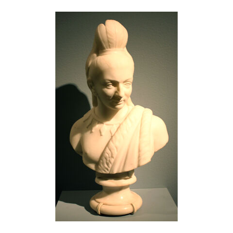 Marble bust of Hiawatha, crafted by Edmonia Lewis