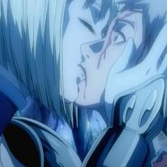 Clare kissing Raki before leaving in episode 12