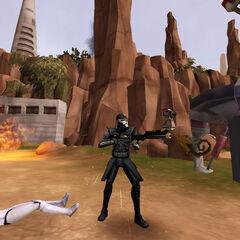 Atom defends a fallen squadmate