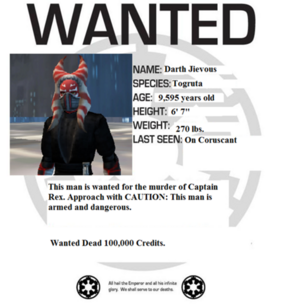 Darth Jievous wanted poster