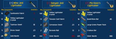 Yellow saber set