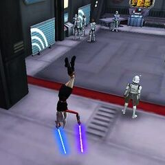Asaada drops down from the ceiling of the Republic Outpost on Umbara after Order 66