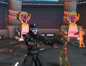 Atom shooting down the droids