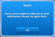 Unable To Take You To Your Destination (App Message)