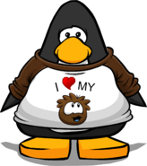 I Heart My Brown Puffle T-Shirt on a Player Card