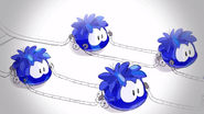 Blue Crystal Puffles pulling sleigh