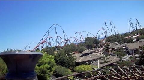El Diablo front seat on-ride HD POV PortAventura Park