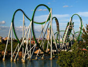 Green Incredible Hulk Coaster water cobraroll launched