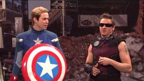 Jeremy Renner as HAWKEYE The Avengers Saturday Night Live Skit part 9 9