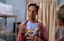 Abed eating Let's pretzels