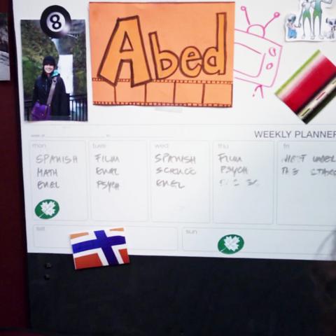 The door to Abed's dorm room.