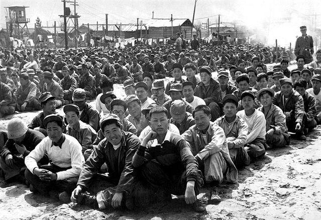 File:Chinese and North Korean POWs at camp in Pusan.JPEG