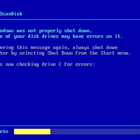 ScanDisk after an improper shutdown in Windows 98