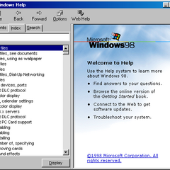 Windows Help's index tab in Windows 98