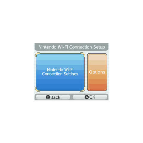 The first screen of the Nintendo DS Nintendo Wi-Fi Connection settings, where you can pick options, or to set up/choose a different network set up.