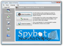 Spybot search and destroy screenshot