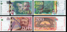 French francs notes