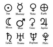 Planets in astrology glyphs