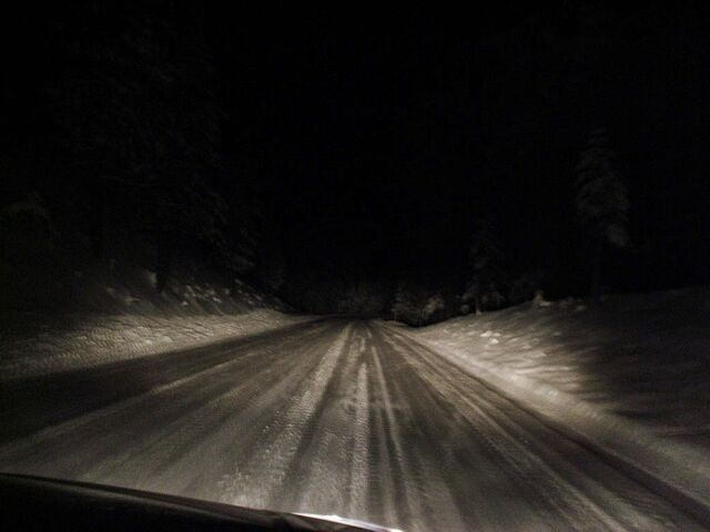File:Headlights and dark road.jpg