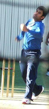 MS Dhoni bowling