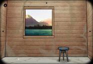 Cabin window lake