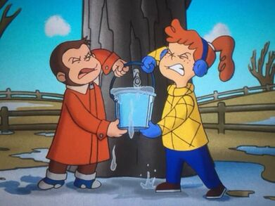 Allie And George holding a bucket